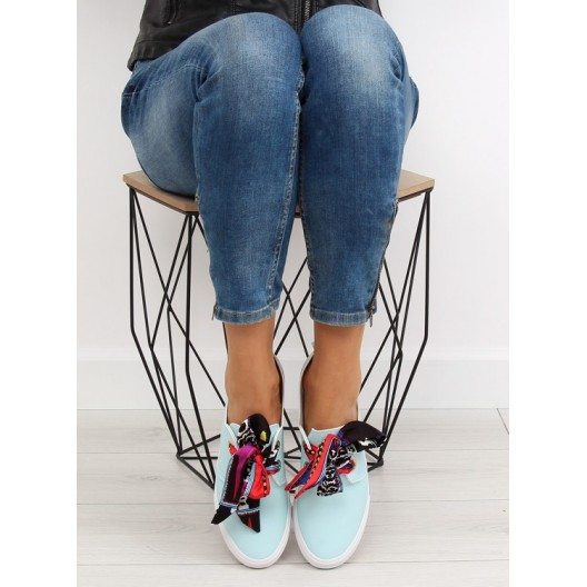 Modré dámske športové tramky s farebnou mašľou