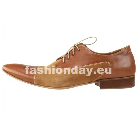 Pánske kožené spoločenské topánky svetlohnedé PT169