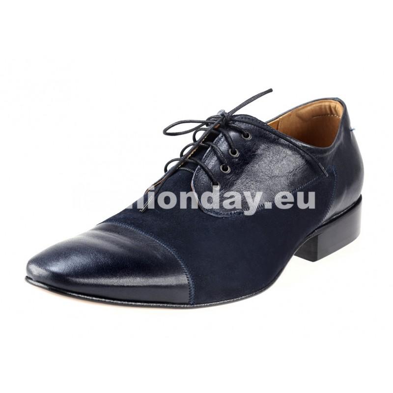 7cae0675b6be Pánske kožené spoločenské topánky modré - fashionday.eu