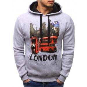 Moderné sivé pánske mikiny s kapucňou a nápisom LONDON