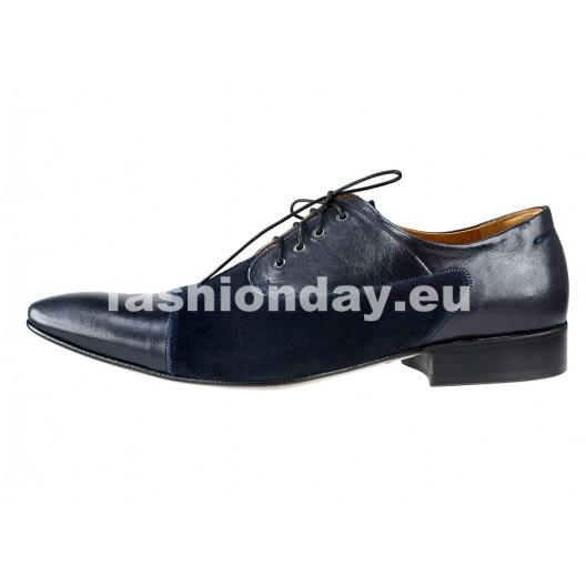 Pánske kožené spoločenské topánky modré PT170