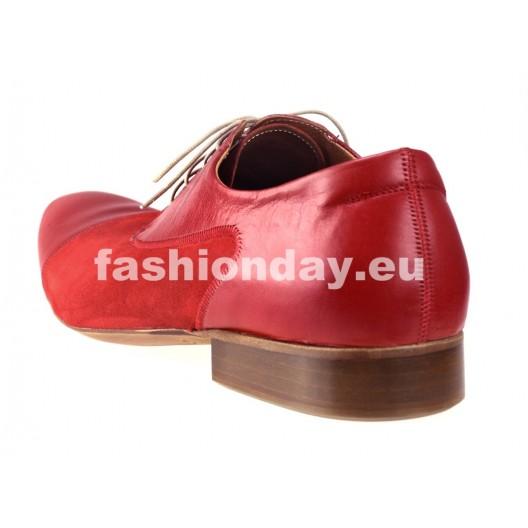 Pánske kožené spoločenské topánky červené PT171