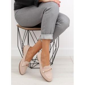 Dámske jesenné topánky v béžovej farbe s aplikáciou
