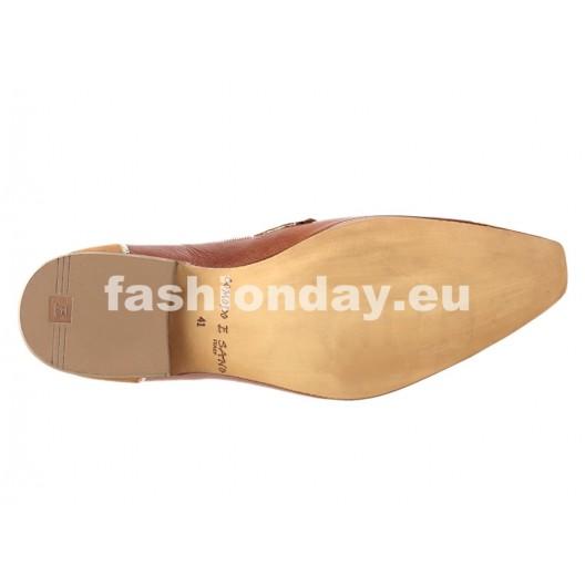 Pánske kožené spoločenské topánky hnedé PT172