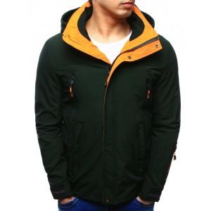 Outdoor bundy pánske v zelenej farbe s kapucňou