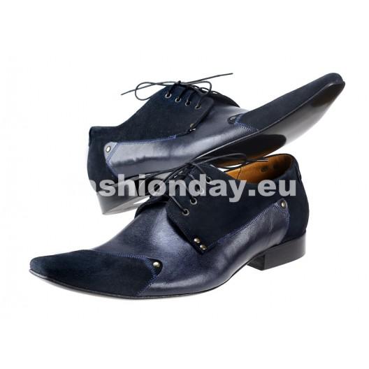 Pánske kožené spoločenské topánky tmavomodré PT173