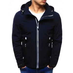 Športové bundy tmavo modrej farby so zipsom a kapucňou