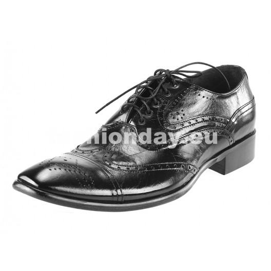 Pánske kožené spoločenské topánky čierne PT175