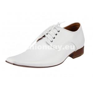 Pánske kožené spoločenské topánky biele