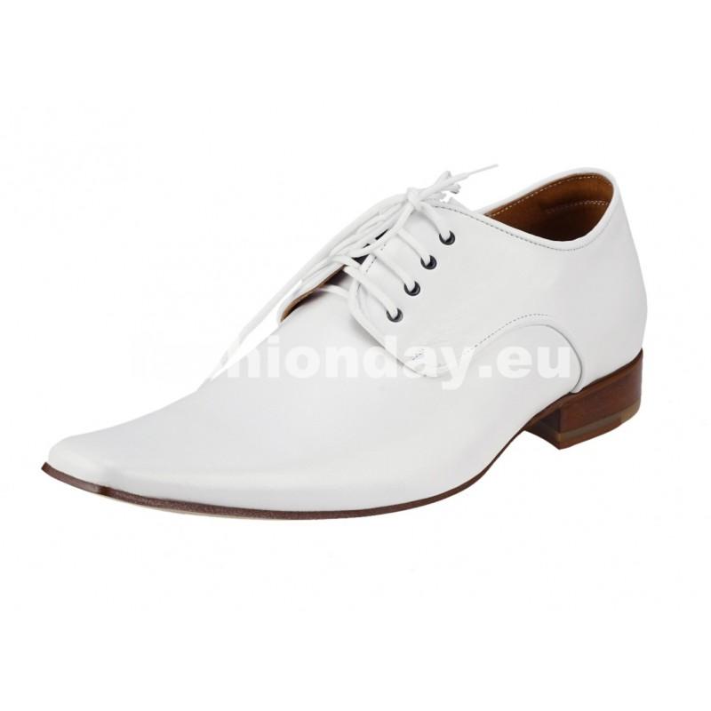 Pánske kožené spoločenské topánky biele - fashionday.eu b5cf5d40771