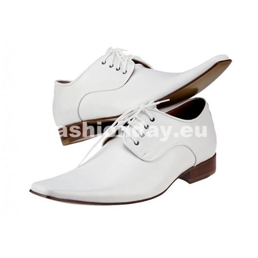 Pánske kožené spoločenské topánky biele PT176
