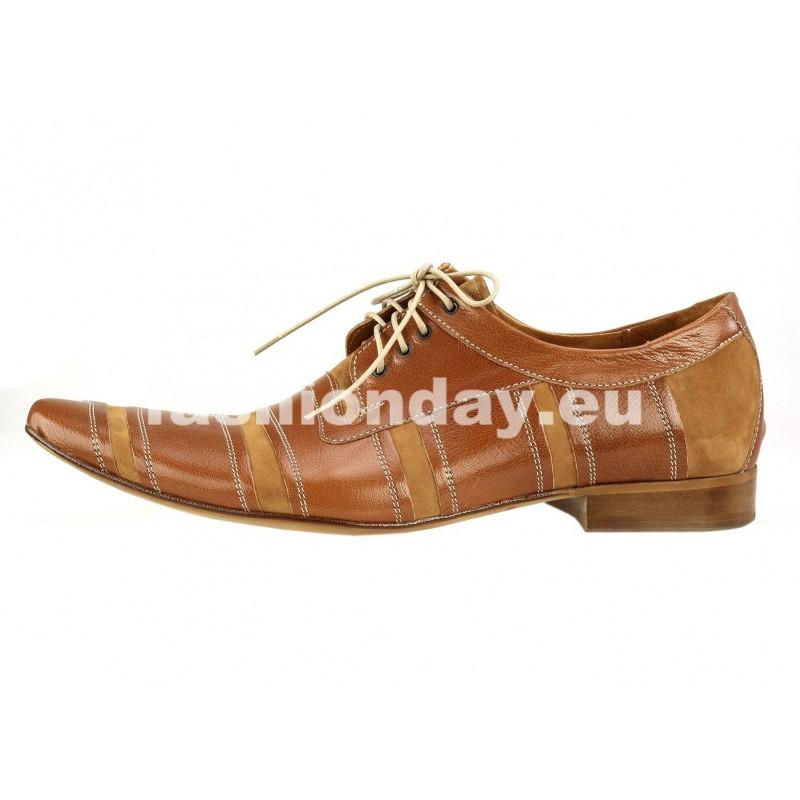 1e5577c7a9 Pánske kožené spoločenské topánky hnedé PT178  Pánske kožené spoločenské ...