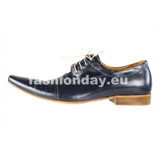 Pánske kožené spoločenské topánky modré PT179