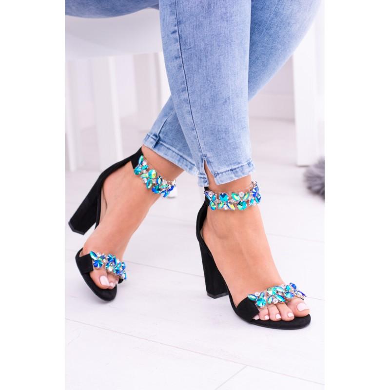 891090d72c96 Predchádzajúci. Elegantné dámske sandále čierne s modrými kamienkami ...