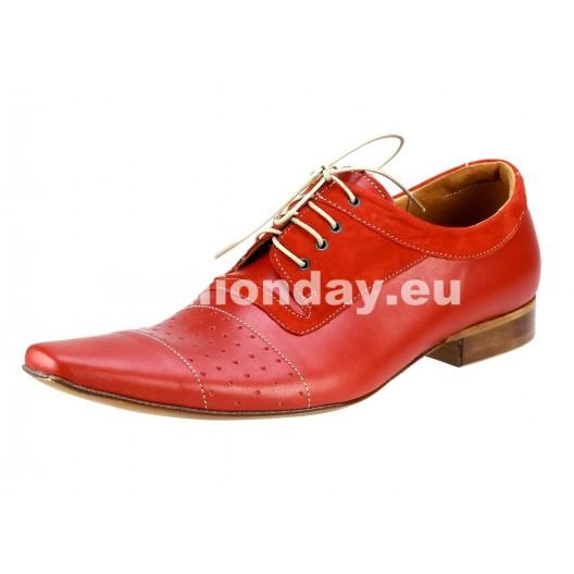 Pánske kožené spoločenské topánky červené PT180