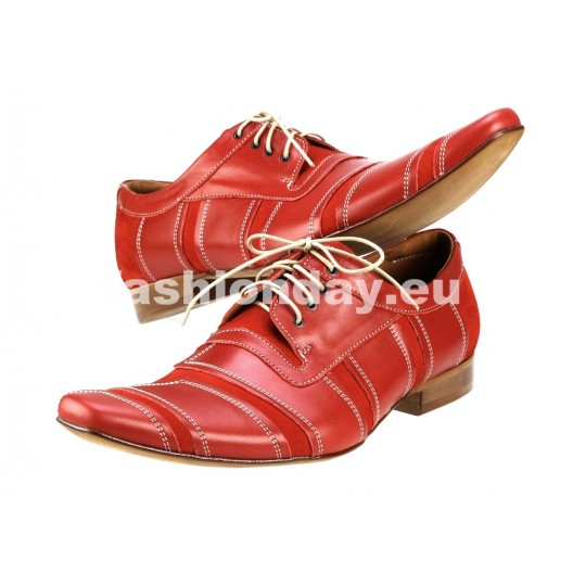 Pánske kožené spoločenské topánky červené PT181