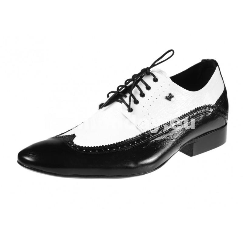 6e0b9092d1a3 Pánske kožené spoločenské topánky čierno-biele - fashionday.eu