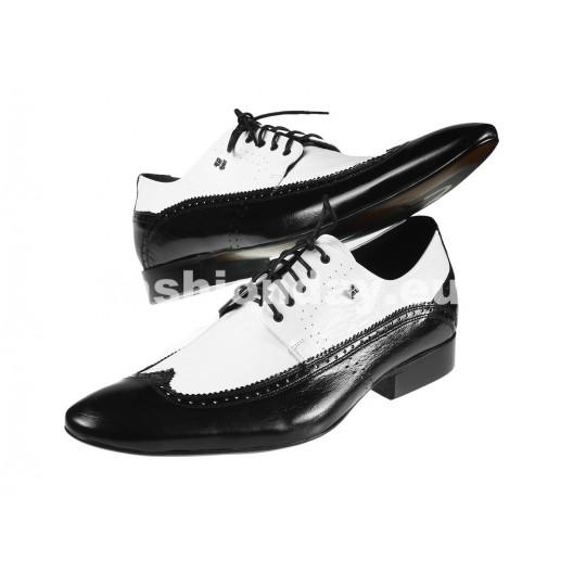 Pánske kožené spoločenské topánky čiernobiele PT183