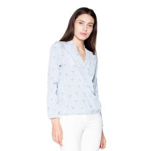 Elegantné dámske košele so vzorom v svetlo modrej farbe