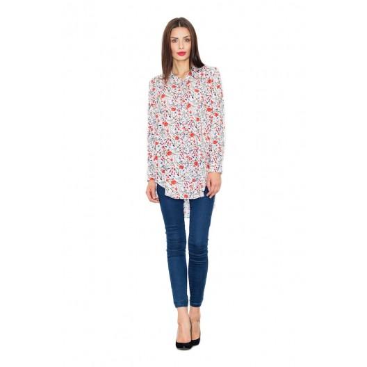Biela dámska košeľa s kvetinami a predĺžením vzadu