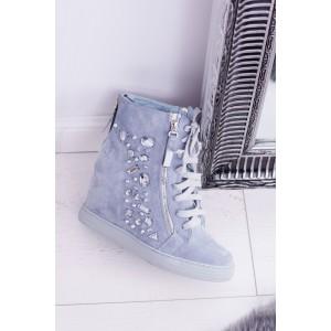 Dámske topánky na platforme v modrej farbe