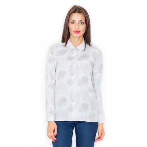 Dámska biela košeľa s dlhým rukávom a jemným vzorom