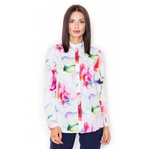 Dámska biela košeľa s farebným kvetinovým vzorom