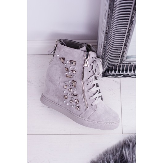 Dámske kotníkové topánky v sivej farbe na platforme