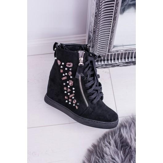 Členková obuv dámska v čiernej farbe na šnurovanie