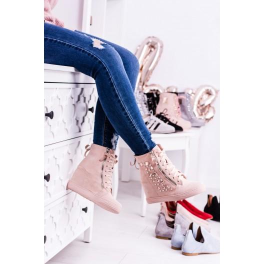 Šnurovacie dámske členkové topánky v ružovej farbe