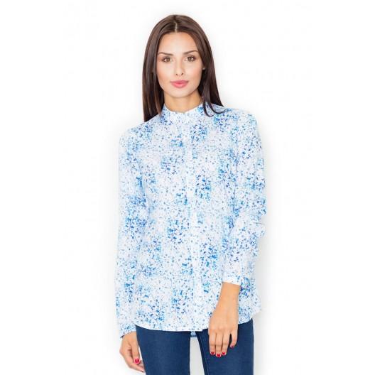 Dámska košeľa biela s dlhým rukávom a modrým vzorom