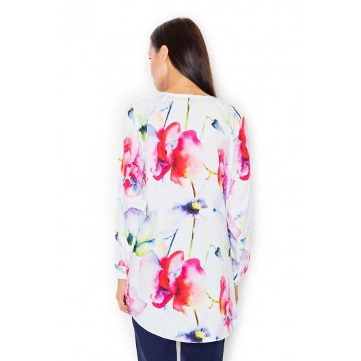 Predĺžené košele dámske s kvetmi a odhalenými ramenami