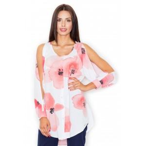 Luxusné dámske košele s odhalenými ramenami a kvetmi