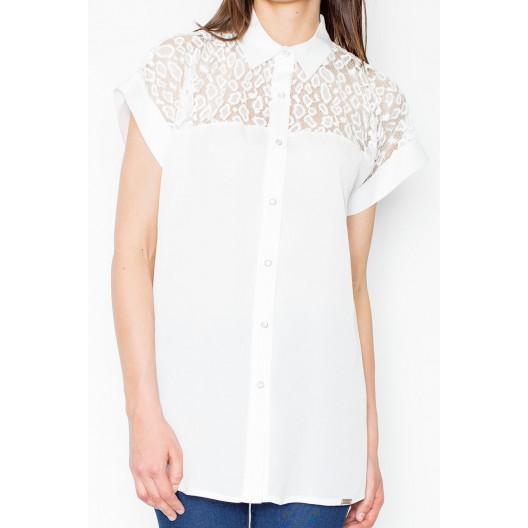 Biela dámska košeľa s krátkym rukávom a čipkou