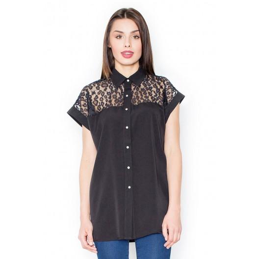 Dámska čierna košeľa s čipkou a krátkymi rukávmi