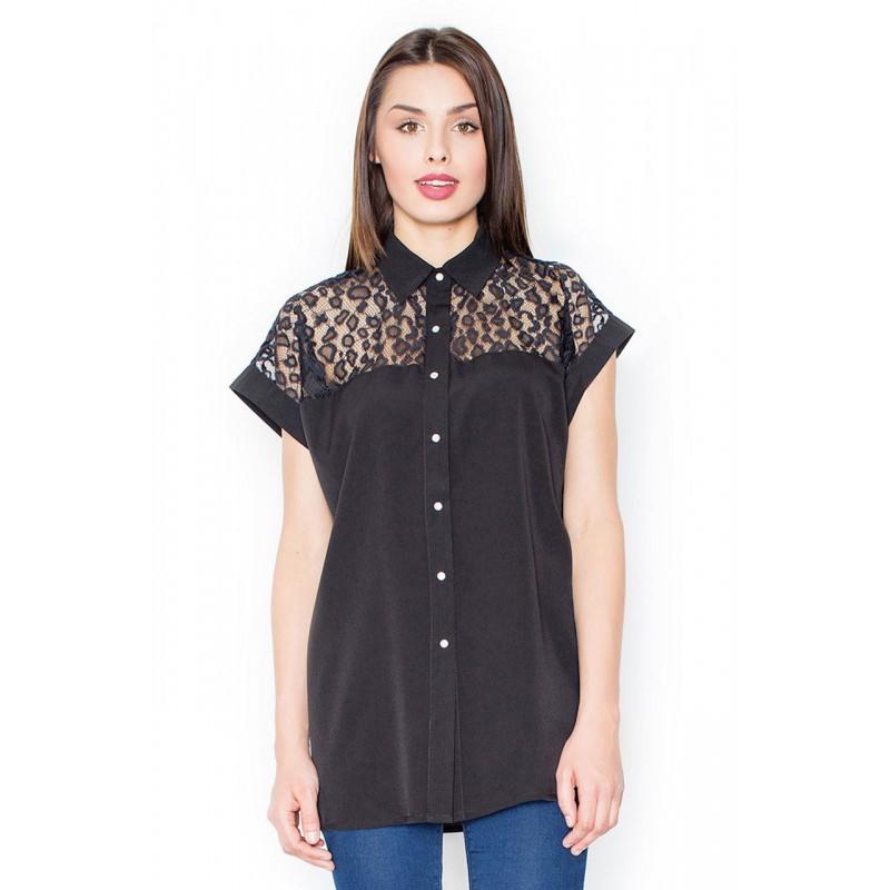 2227d4e1cec1 Dámska čierna košeľa s čipkou a krátkymi rukávmi