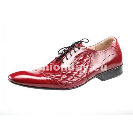 Pánske kožené spoločenské topánky červené PT186