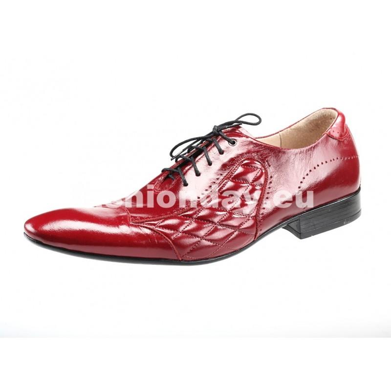 ee713ee44e9b7 Pánske kožené spoločenské topánky červené - fashionday.eu