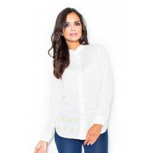 Dámska košeľa biela so vzorom a predĺžením vzadu