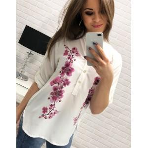 Elegantné dámske košele bielej farby s ružovou orchideou