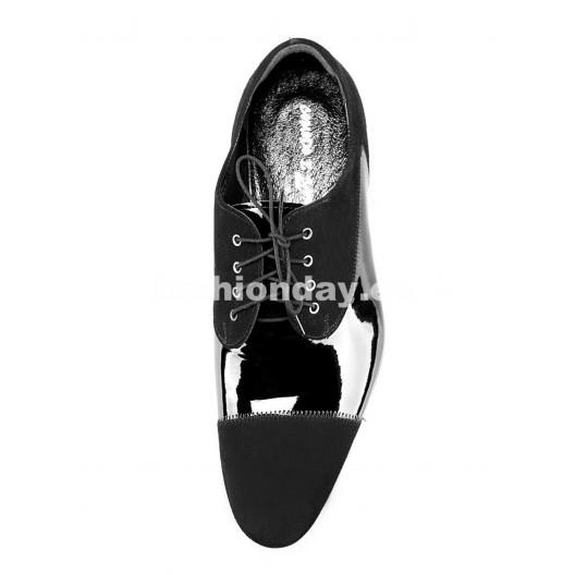 Pánske kožené spoločenské topánky lesklé čierne PT189