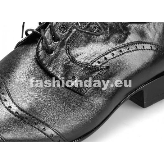 Pánske kožené spoločenské topánky čierne PT190