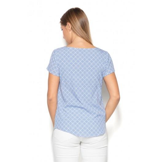 Blúzka s krátkym rukávom a vzorom modrej farby