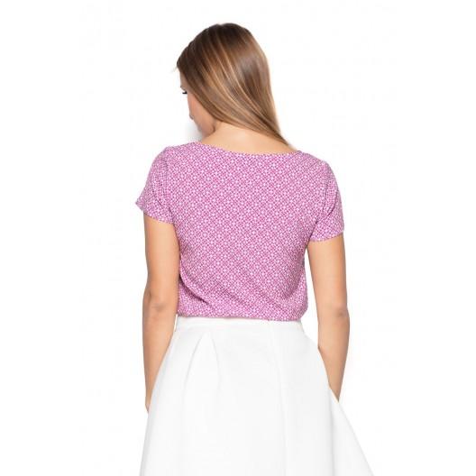 Pekné dámske blúzky s krátkym rukávom v ružovej farbe