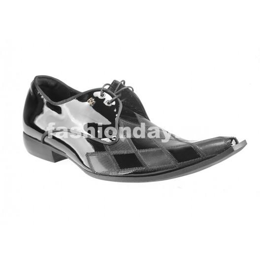 Pánske kožené spoločenské topánky čierne PT191