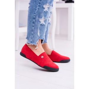 Pekné topánky na jar červenej farby s čiernou podrážkou