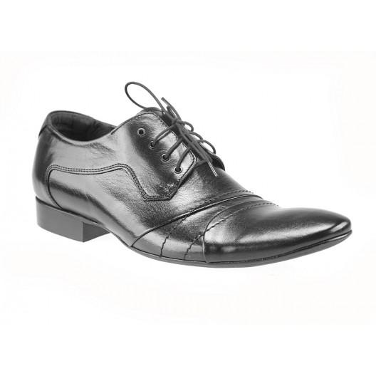 Pánske kožené spoločenské topánky čierne PT192
