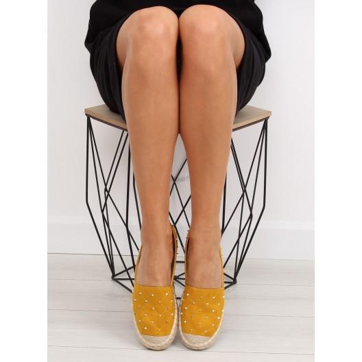 Espadrilky dámske v žltej farbe s vybíjaním