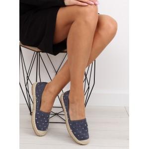 Letné dámske topánky so vzorom v tmavo modrej farbe