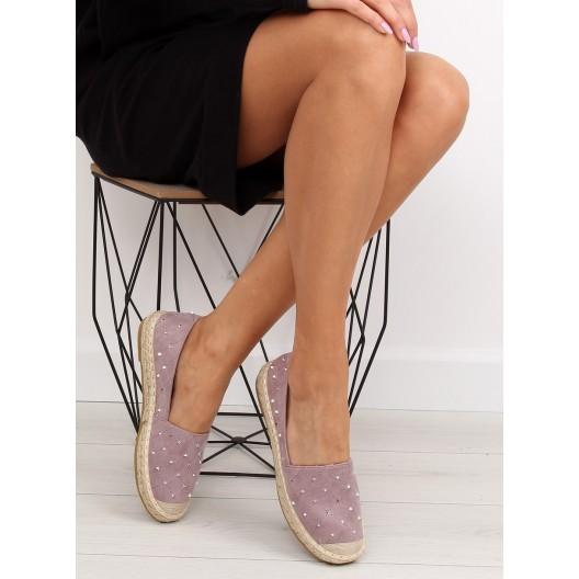 Letné dámske topánky so vzorom vo fialovej farbe